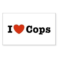 I Love Cops Rectangle Decal