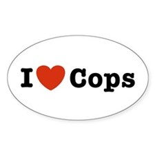 I Love Cops Oval Decal