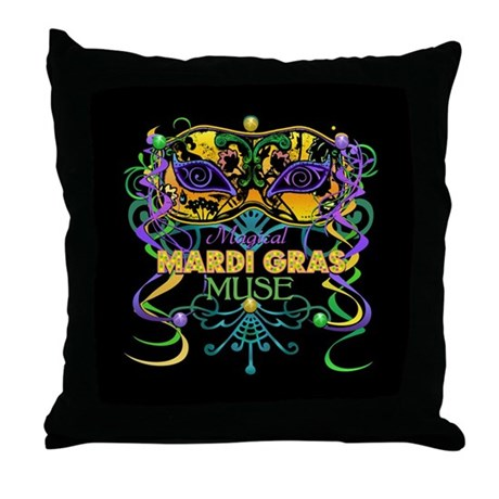Mardi Gras Muse Throw Pillow