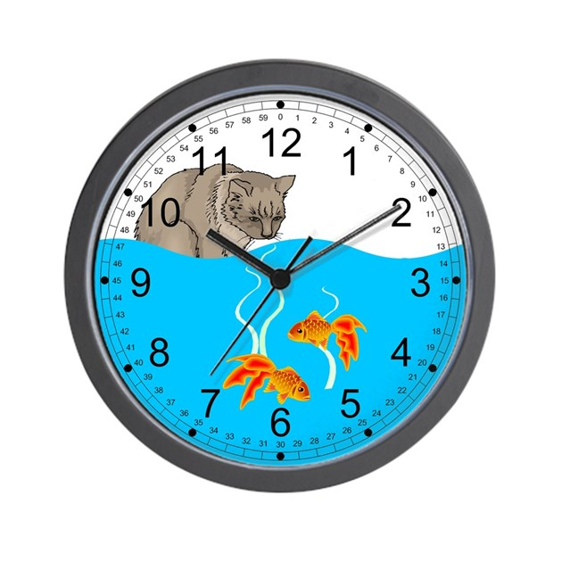 Hungry cat and fish bowl wall clock by theinternetmall for Fish wall clock