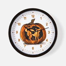 Carved Kitty Pumpkin Halloween Wall Clock