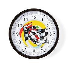 Formula One Race Car/Checkered Flag Wall Clock