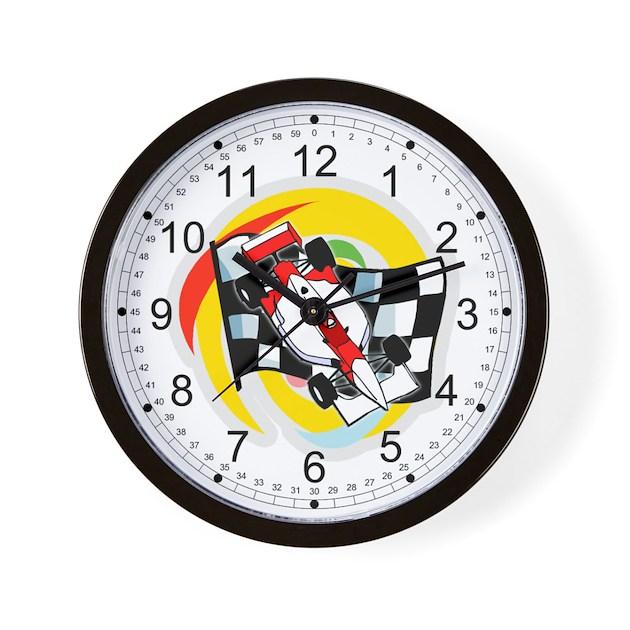 Formula One Race Car/Checkered Flag Wall Clock By