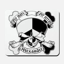 Alexander Family Crest Skull Mousepad