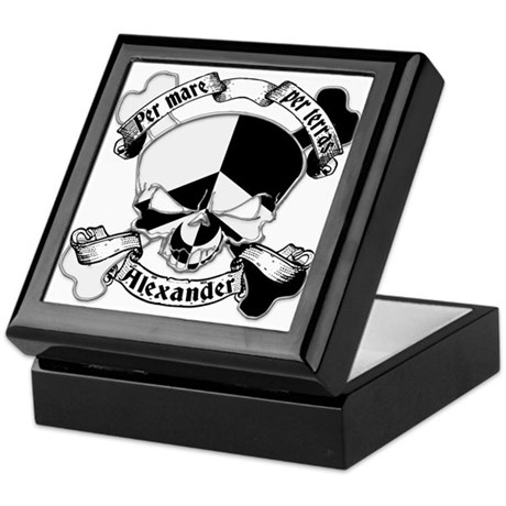 Alexander Family Crest Skull Keepsake Box