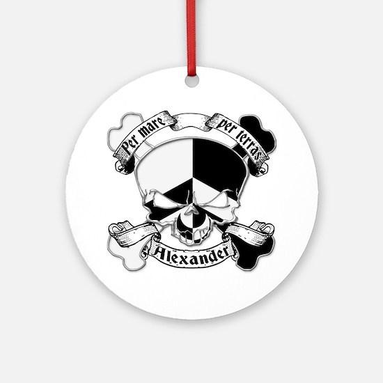 Alexander Family Crest Skull Ornament (Round)