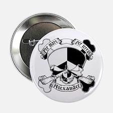 """Alexander Family Crest Skull 2.25"""" Button"""