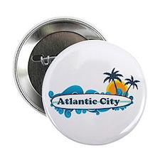 """Atlantic City NJ - Surf Design. 2.25"""" Button"""