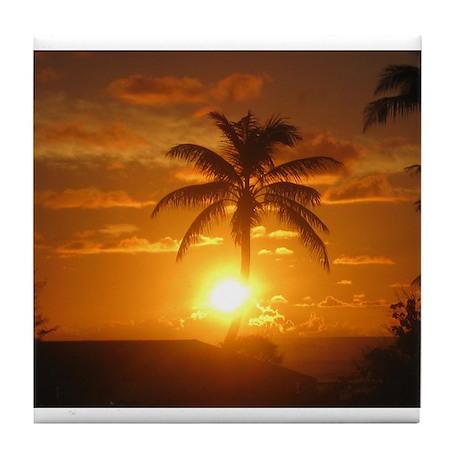 Hawaii Palm Sunrise Tile Coaster