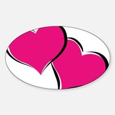 HEARTS {30} : hot pink Sticker (Oval)