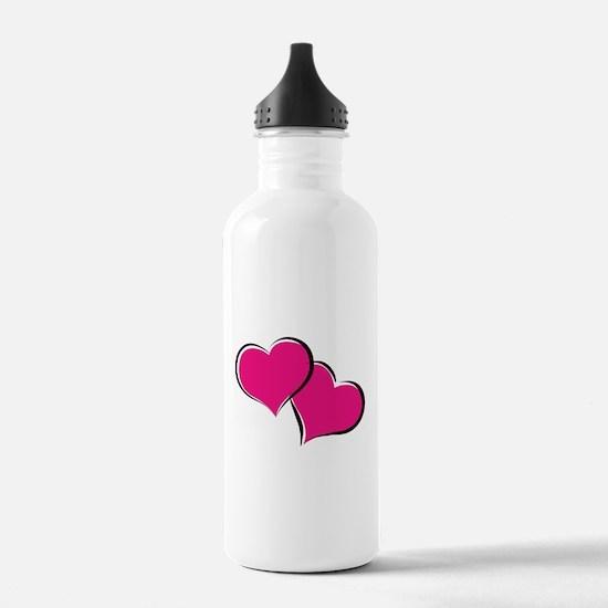 HEARTS {30} : hot pink Water Bottle
