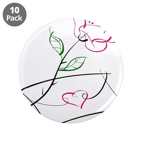 "ROSE & VALENTINE {1} : pink 3.5"" Button (10 pack)"