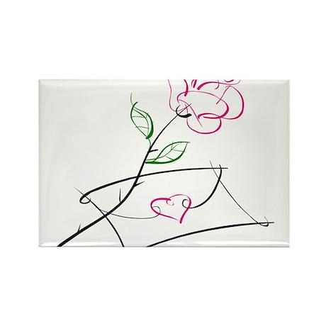ROSE & VALENTINE {1} : pink Rectangle Magnet (100
