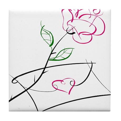 ROSE & VALENTINE {1} : pink Tile Coaster
