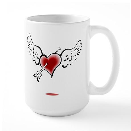 HEART, WINGS & ARROW {1} : re Large Mug