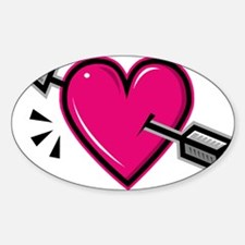 HEART & ARROW {19} : pink Sticker (Oval)