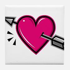 HEART & ARROW {19} : pink Tile Coaster