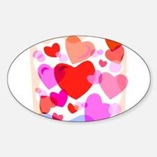 HEARTS {32} Sticker (Oval)