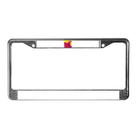 HEARTS {36} : magenta/yellow License Plate Frame