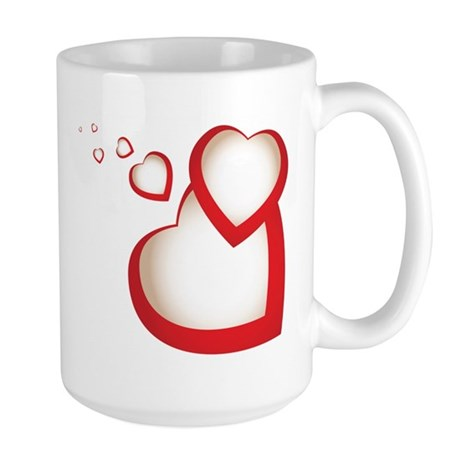 HEARTS {39} : red Large Mug