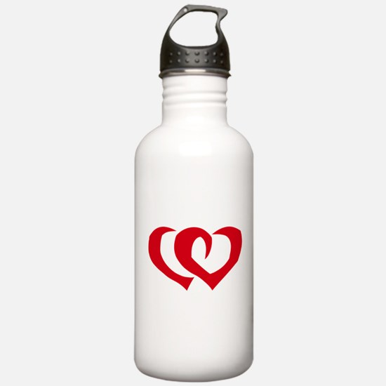 HEARTS {39} : red Water Bottle