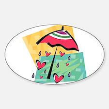 RAINING HEARTS Sticker (Oval)