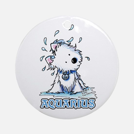 Aquarius Westie Ornament (Round)