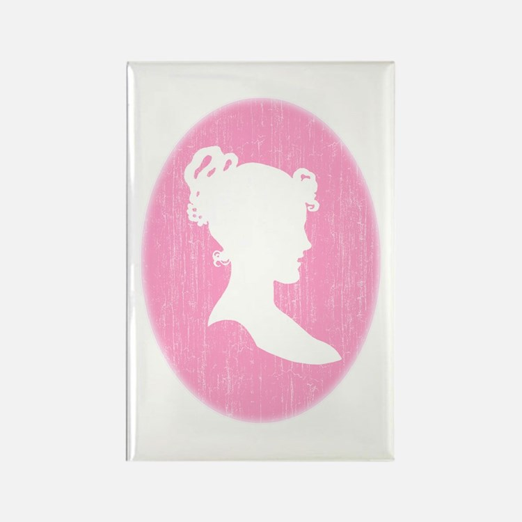 Pink Cameo Rectangle Magnet