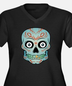 Tattoo Skull Women's Plus Size V-Neck Dark T-Shirt