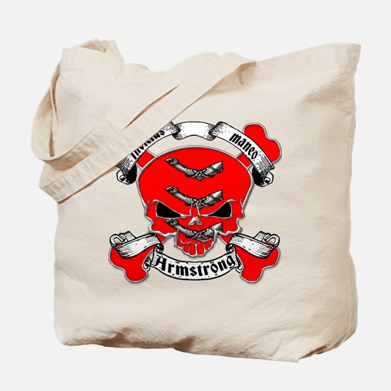 Armstrong Family Crest Skull Tote Bag