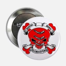 "Armstrong Family Crest Skull 2.25"" Button"
