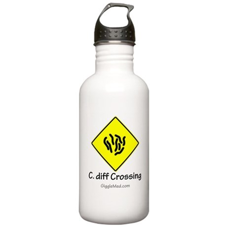 C. diff Crossing Sign 01 Stainless Water Bottle 1.