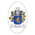 Simonetta Family Crest Oval Sticker