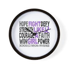 Fight Like A Girl Hodgkin's Lymphoma Wall Clock