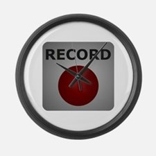 Record Button Large Wall Clock