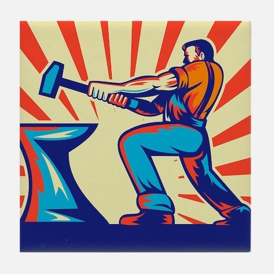 blacksmith striking hammer Tile Coaster