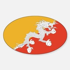 Bhutan Flag Sticker (Oval)