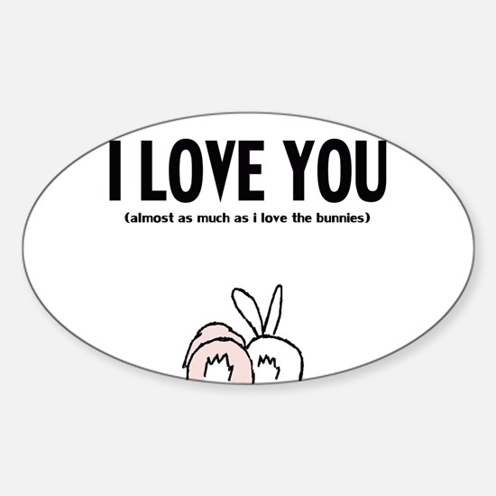 Cute Bunny butz Sticker (Oval)