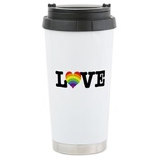 NY rainbow heart Travel Mug