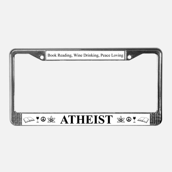Book Wine Peace Atheist License Plate Frame