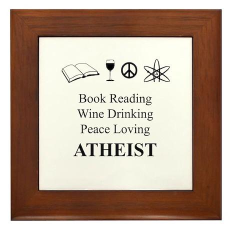 Book Wine Peace Atheist Framed Tile