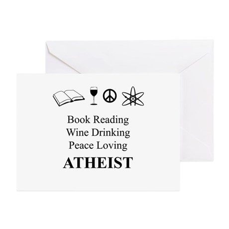 Book Wine Peace Atheist Greeting Cards (Pk of 10)