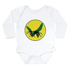 Cute Green Long Sleeve Infant Bodysuit