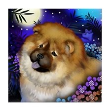 CHOW CHOW DOG MOON GARDEN Tile Coaster