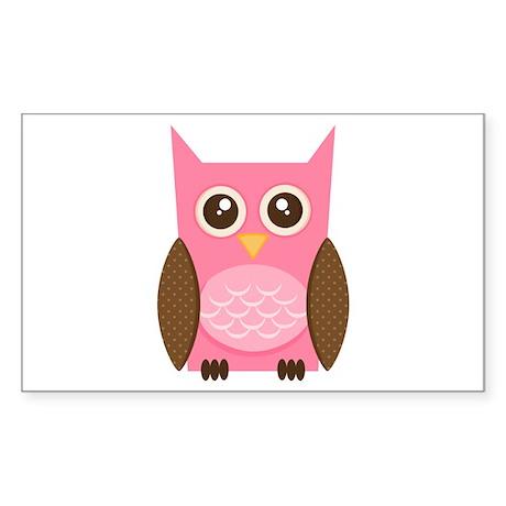 Pink Owl Sticker (Rectangle)