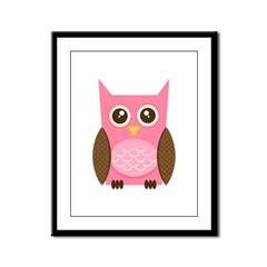 Pink Owl Framed Panel Print