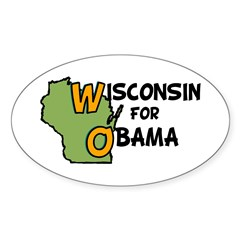 Wisconsin for Barack Obama Oval Decal