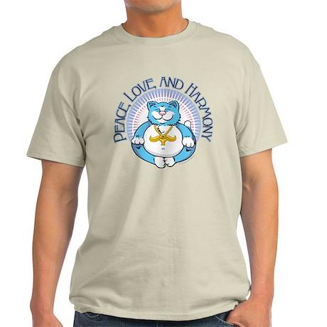 Buddha Kitty: Peace, Love, an Light T-Shirt