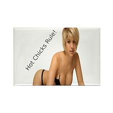"""Hot Chicks Rule!"" Rectangle Magnet"