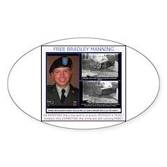 FREE Bradley Manning Sticker (Oval 50 pk)